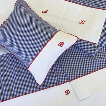 "Baby boy bedding in royal ""Checker"" & white ""Honeycomb"" piqué with red 'Ric Rac' & 'Letter'"