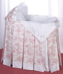 """Toile"" Bassinet Ensemble in raspberry red"