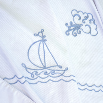 """Coverlet with """"Embroidered Sailboat"""""""