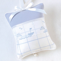 "Musical Pillow in ""Aralie"" & ""Honeycomb"" with 'Sailboat'"