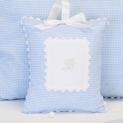 "Musical Pillow in ""Mini Checker"" & ""Primel"" with 'Letter' & 'Ric Rac'"