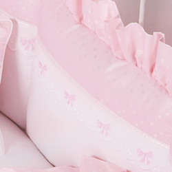 "Crib Bumper in pink ""Celeste"" with 'French Bow' & 'Lullaby'"