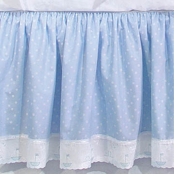 "Crib Skirt in blue ""Celeste"" with 'Sailboat' & 'French Ribbon'"