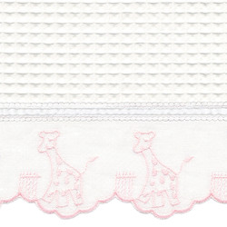 "Fabric & Embroidery Sample - ""Waffeweave"", pink 'Giraffe' & 'French Ribbon'"
