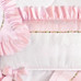 "Crib Bumper in pink ""Celeste"" & white ""Primel"" with 'Flora' & 'Penelope'"