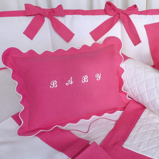 Crib Ensemble in magenta and white linen & cotton with appliqué monogram