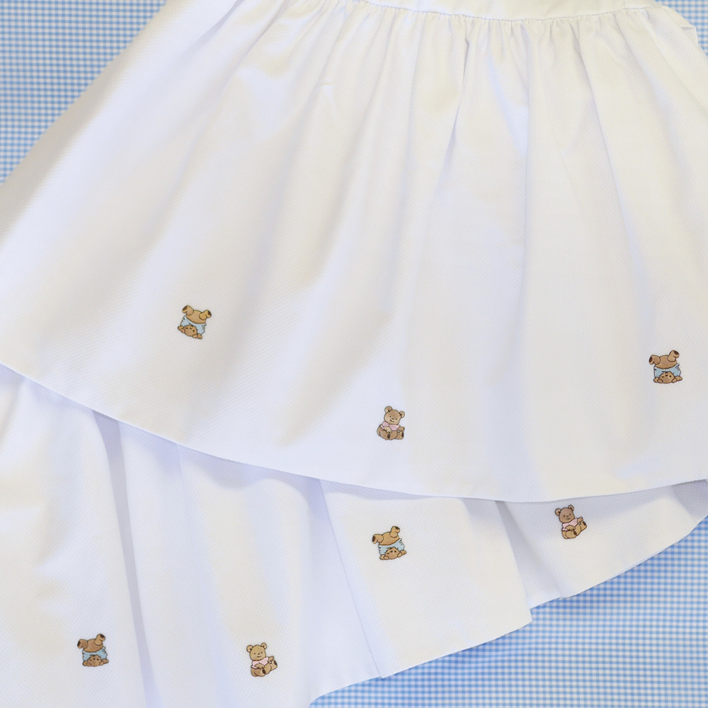Lined Crib Skirt in white 'Primel' piqué, gathered & embellished with embroidered 'Baby Bears'