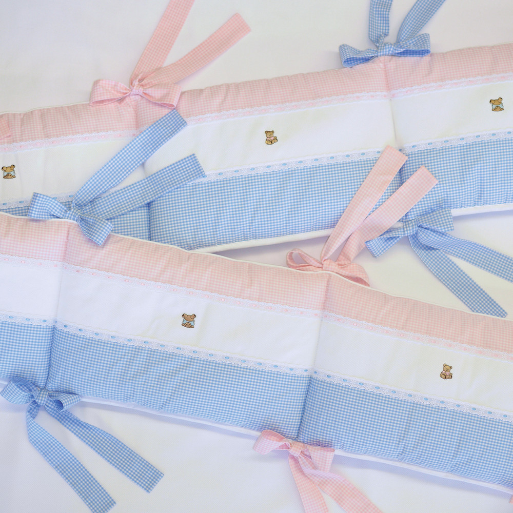 Crib Bumper for a boy or girl! Pink & blue 'Checker' with embroidered 'Baby Bears' & 'Lullaby' embroidery