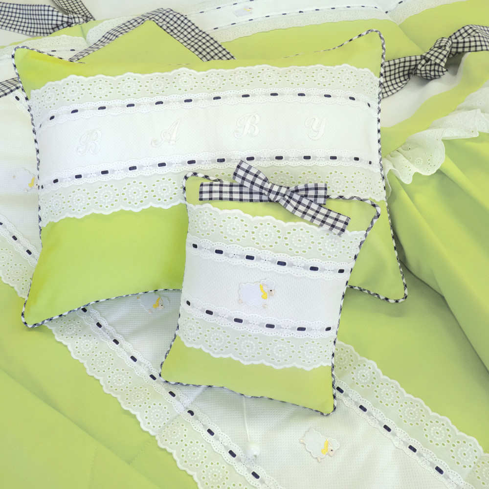 Crib Ensemble in chartreuse 'Lark' and navy 'Checker' with 'Merry-Go-Round' & 'Lullaby' embroidery