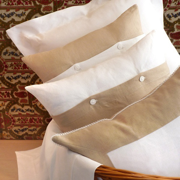 Decorative, large pillows in 100% white & natural linen with our signature white thread closures