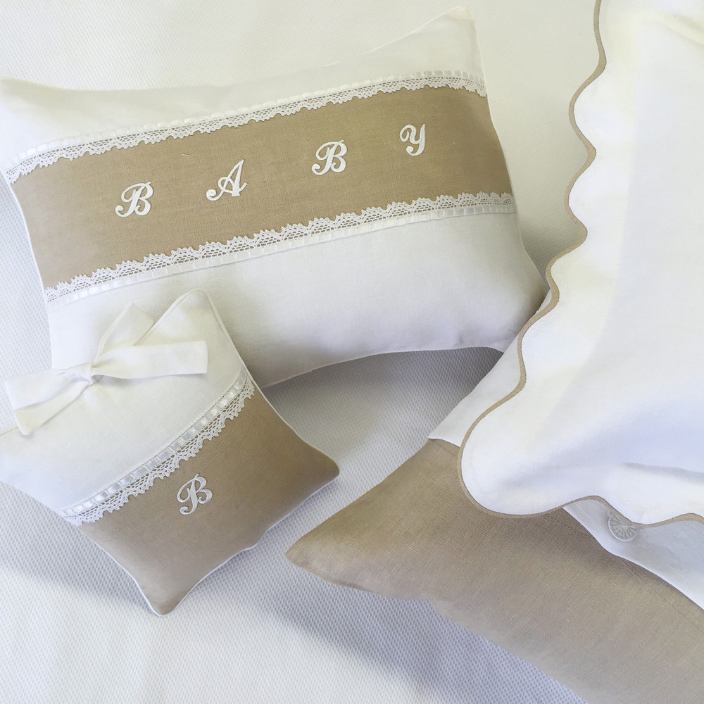Custom nursery pillows in 100% white & natural linen with 'Milanese Lace' & white appliqué letters
