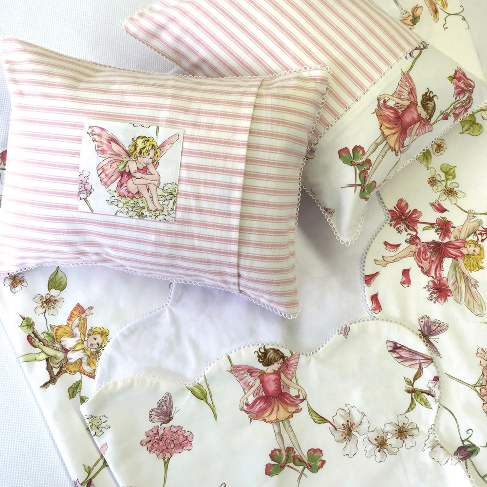Scalloped Coverlet and 'Tooth Fairy' Boudoir Pillows; COM with our 'Thumbelina' trim