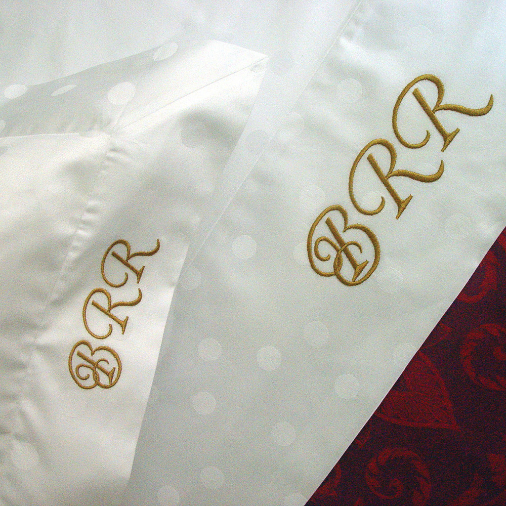 Queen size Bedding Ensemble in luxurious, 100% Egyptian cotton jacquard, 'Luna' with gold monogram