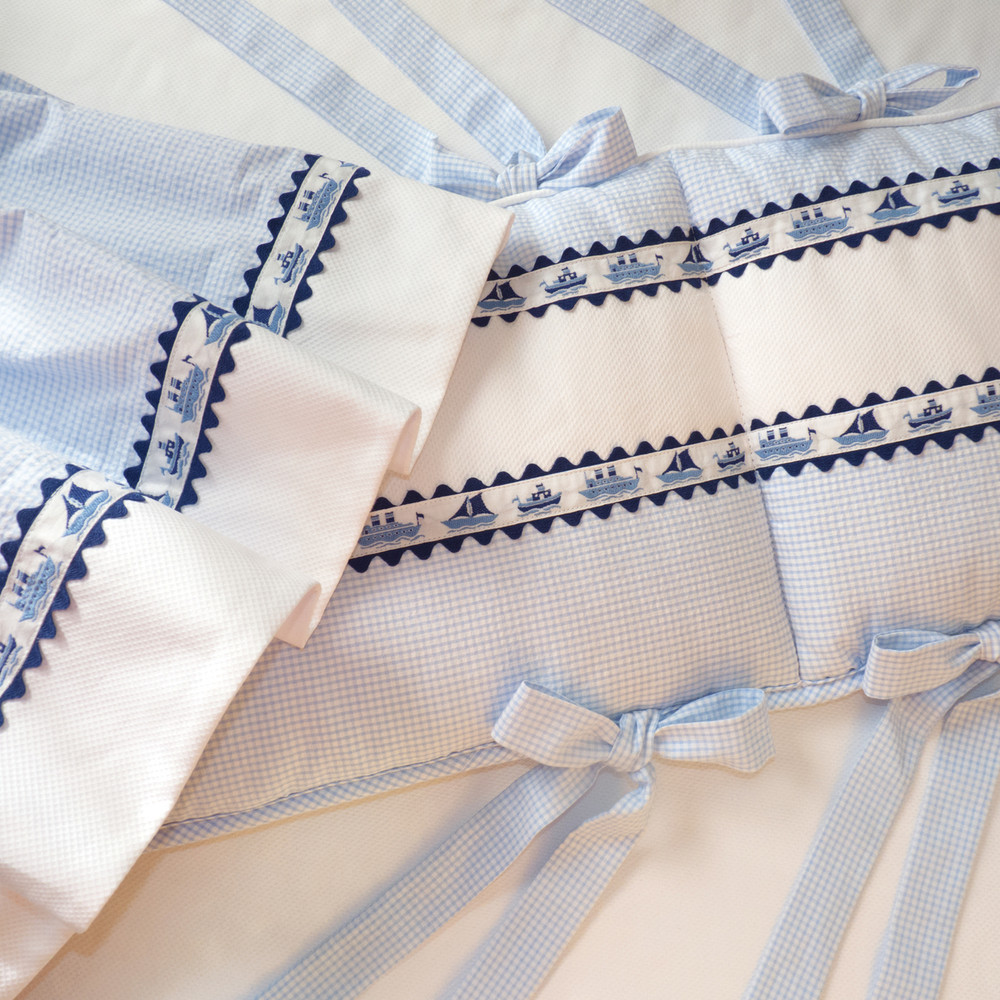 Crib Ensemble in 'Mini Checker' with navy 'Ric Rac' & 'Ships' jacquard ribbon with elegant self fabric bow ties