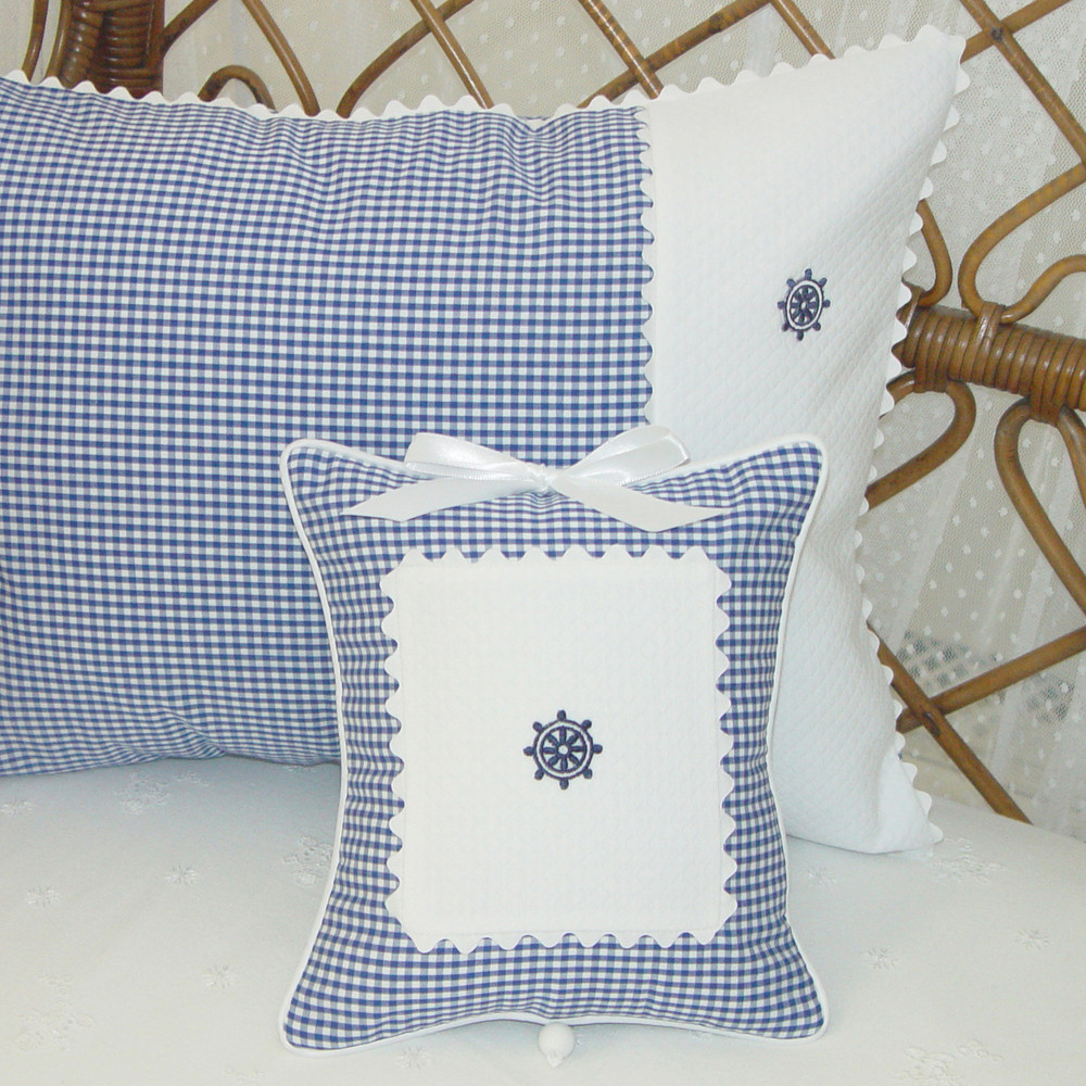 Boudoir & Musical Pillow in royal blue 'Checker' with 'Ric Rac' & 'Skipper's Wheel'