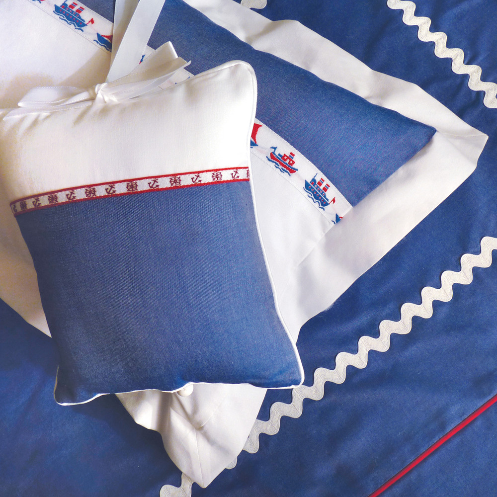 Classic, nautical motifs in all cotton royal blue & white 'Pinpoint Oxford' with contrasting piping & large, white 'Ric Rac'
