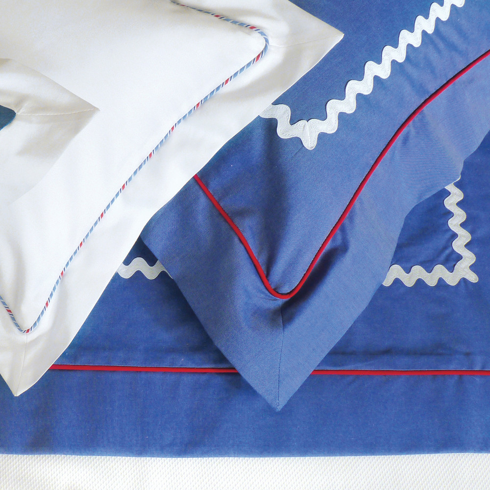 Big boy bedding! Elegant royal blue & white 'Pinpoint Oxford' cotton with contrasting piping & large, white 'Ric Rac'