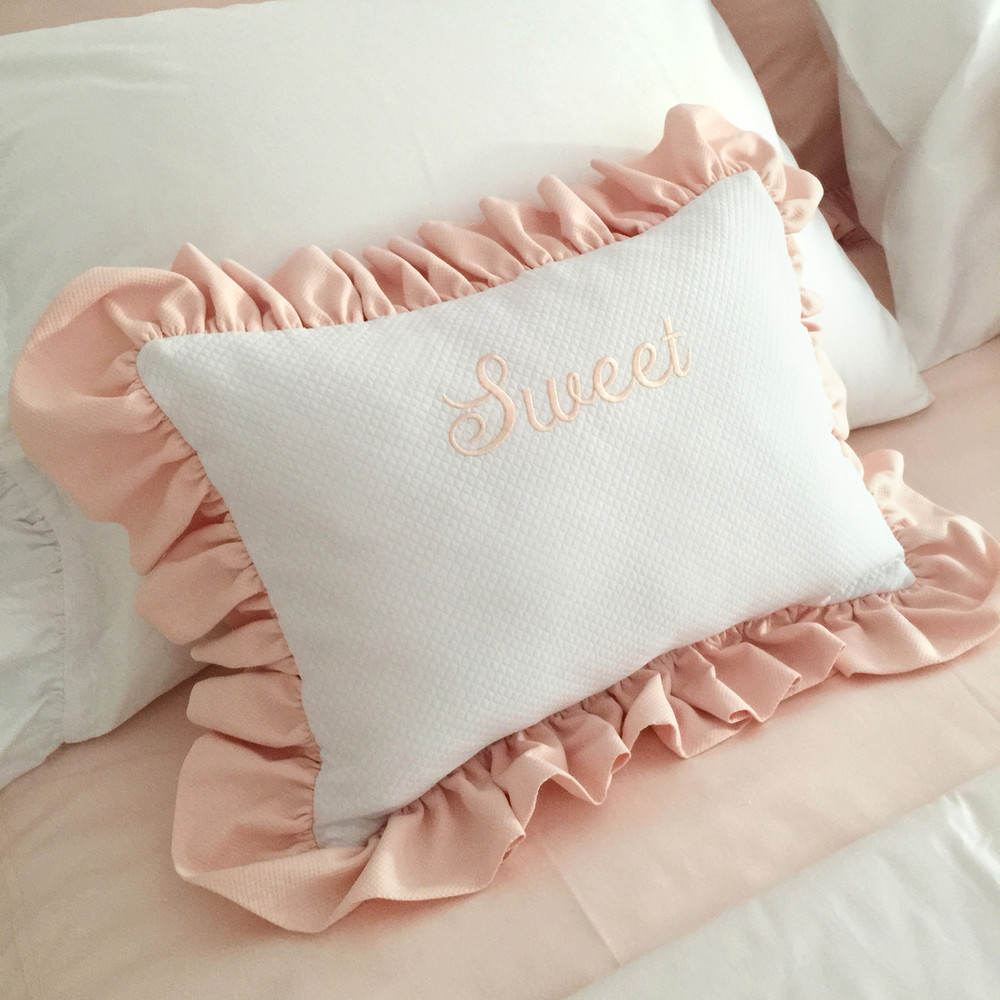 Boudoir accent pillow in white 'Honeycomb' with peach 'Primel' ruffle and  'Sweet' monogram