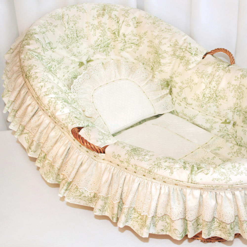 Willow Basket Ensemble in sage green 'Toile' with ivory 'Merry-Go-Round' & 'Lullaby' batiste embroideries