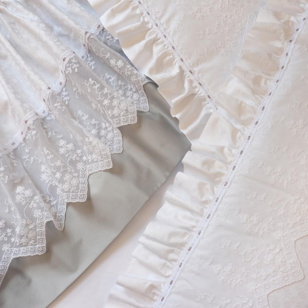 Gathered Crib Skirt with 100% Egyptian cotton 'Orchidee' & 'Natasha Lace' overlay