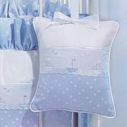 "Musical Pillow in ""Celeste"" & ""Primel"" with 'Sailboat' & 'French Ribbon'"