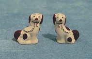 Pair Of Staffordshire Dogs White & Brown