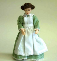 Heidi Ott Dolls House Doll, Maid Doll in Green / White Apron.