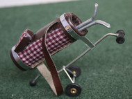 Checked Golf Caddy & Clubs