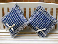 Pair of Cushions Blue Gingham