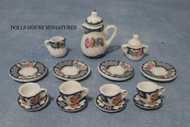 Heavy Floral Tea Set 15 Piece