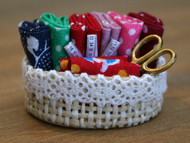 Frilly Sewing Basket With Accessories