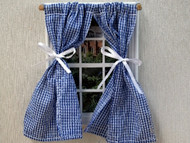 Blue & White Checked Curtains