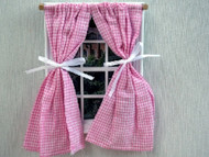 Pink & White Checked Curtains