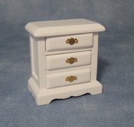 White Three Drawer Bedside Cabinet