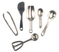 Silver Six Piece Kitchen Utensils