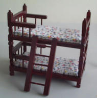 Mahogany Bunk Bed with Pattern on the Mattress