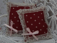 Pair of Cushions Dark Red / White Spots