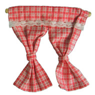Deep Pink & White Checked Curtain & Pole