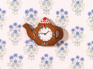 Dolls House Miniature Wall Clock Teapot Shape
