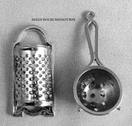 Dolls House Miniature Metal Sieve & Grater