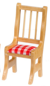 One Pine Chair Red & White Checked Cushion
