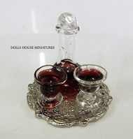 Wine Decanter & Glasses With Tray