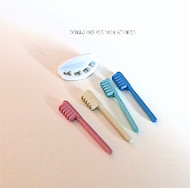 Four Coloured Toothbrushes & Holder