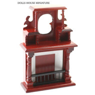 Ornate Mahogany Fireplace With Mirror.