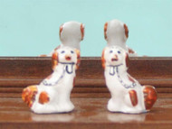 Pair Of Staffordshire Dogs White & Light Brown