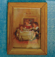 Wood Framed Children & Pet Cat Picture