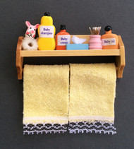 Bathroom Shelf With Accessories & Yellow Towels