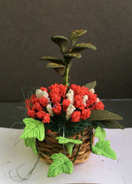 Red & White Flowers in a Basket