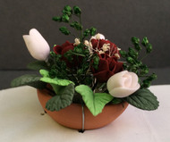 White Tulips & Crimson Roses in a Terracotta Pot