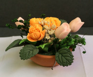 Pink Tulips & Orange Roses in a Terracotta Pot